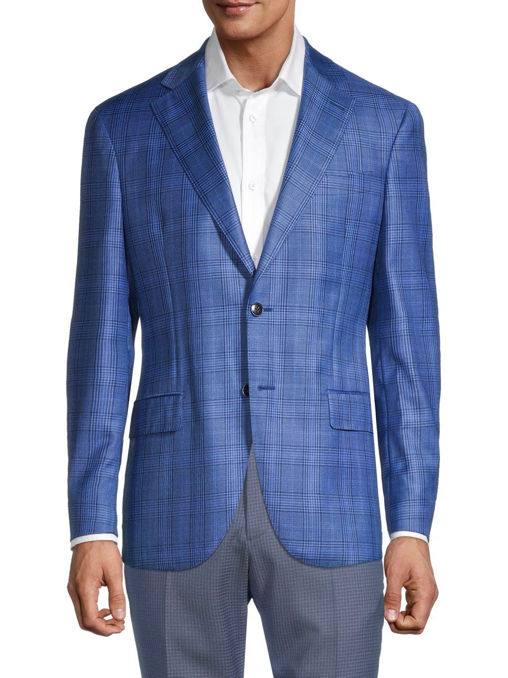 Lubiam Standard-Fit Plaid Virgin Wool Jacket