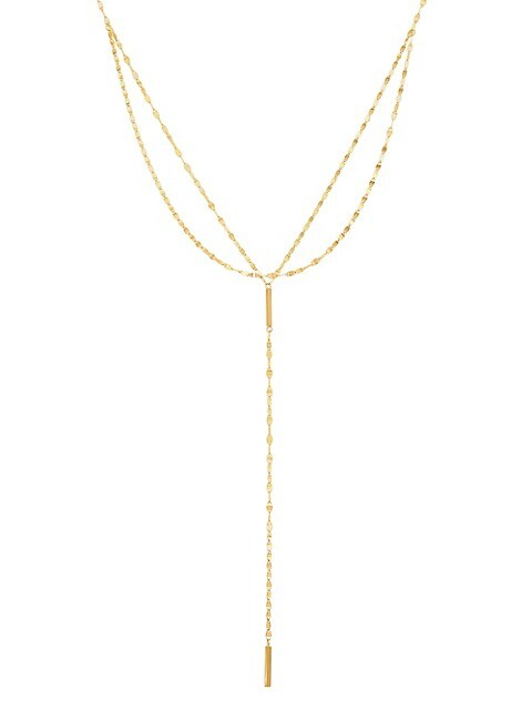 Saks Fifth Avenue 14K Yellow Gold Square Bar Lariat Necklace