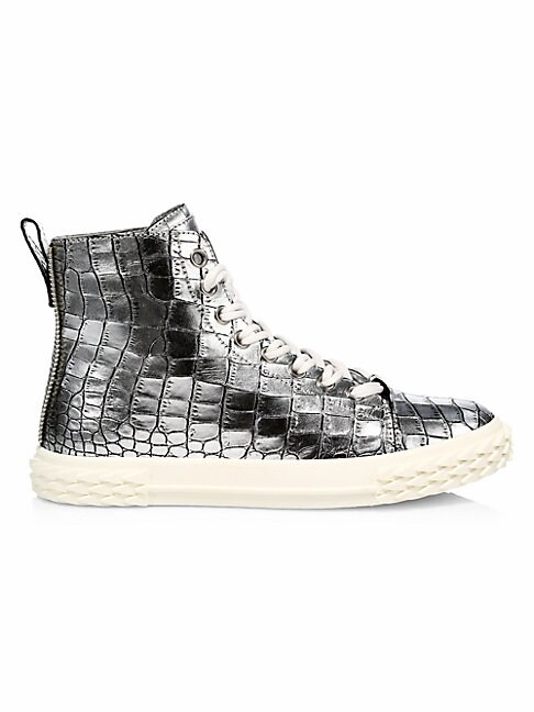 Giuseppe Zanotti BLABBER CROC-EMBOSSED METALLIC LEATHER HIGH-TOP SNEAKERS