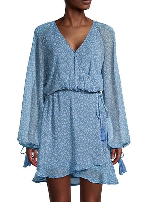 Allison New York FLORAL CHIFFON WRAP DRESS