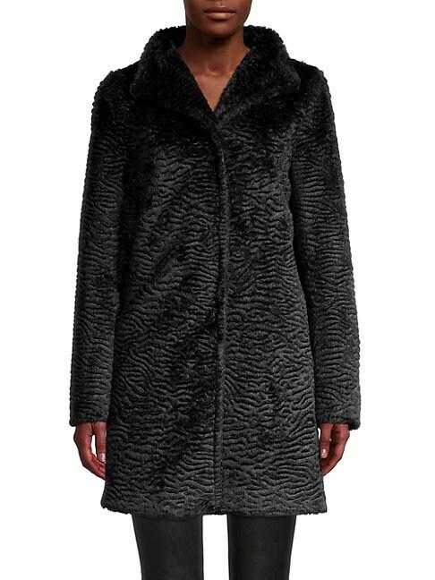 Cinzia Rocca Icons Textured Faux Fur Coat In Black
