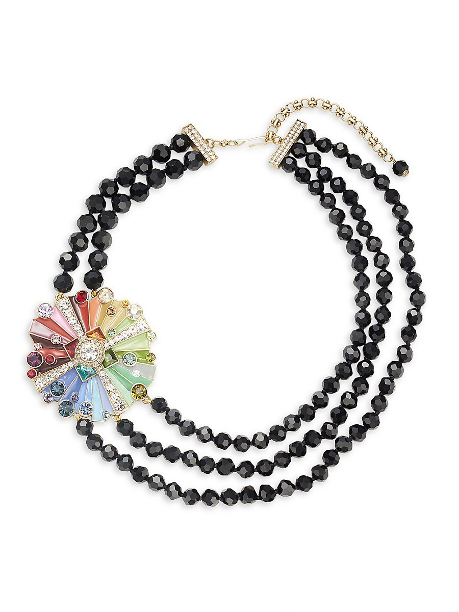Women's Rhinestone & Crystal Three-Stand Beaded Color Wheel Necklace