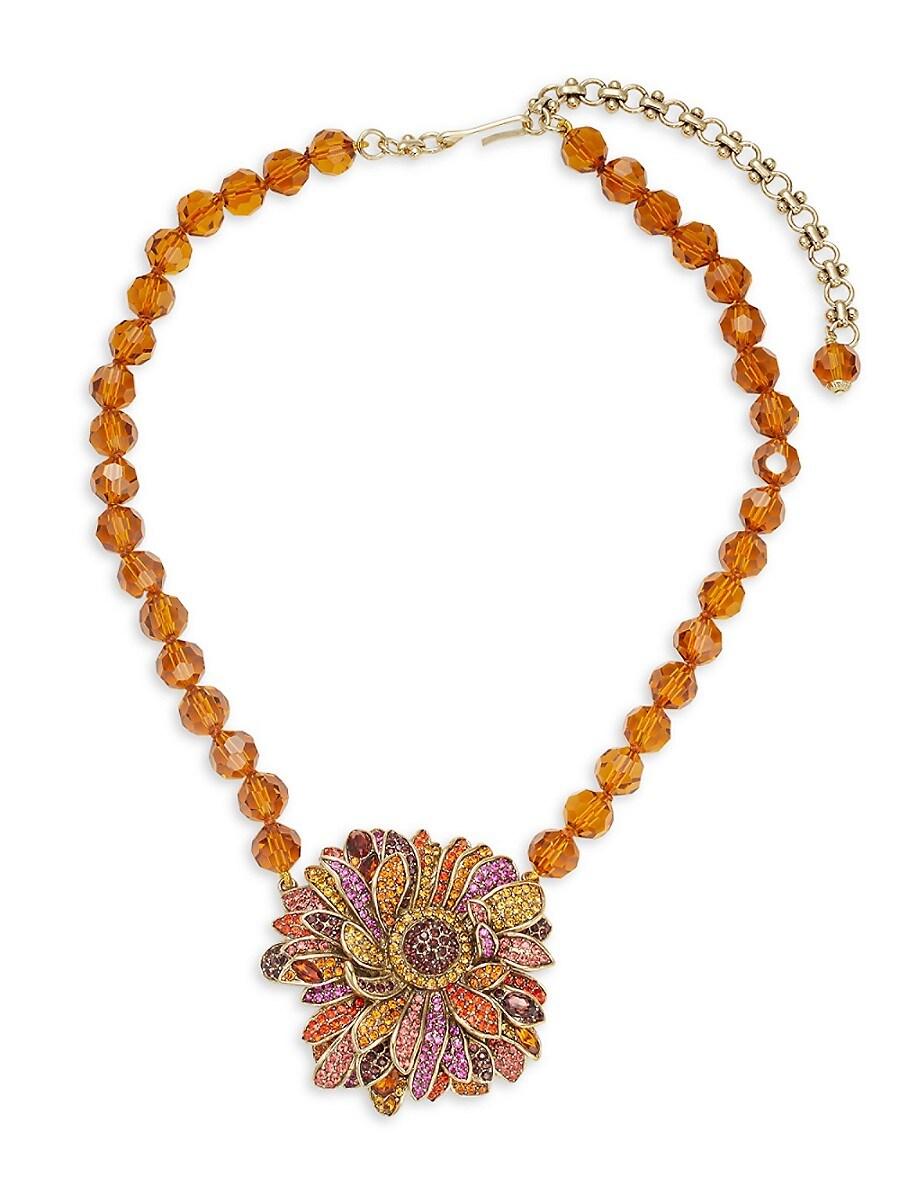 Women's Multicolor Rhinestone Beaded Flower Pendant Necklace