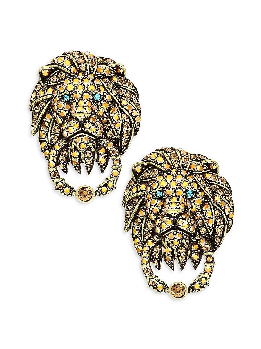 Women's Multicolor Rhinestone & Crystal Lion Door Knocker Earrings