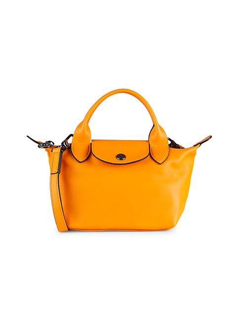 Le Pliage Cuir Top Handle Bag In Orange
