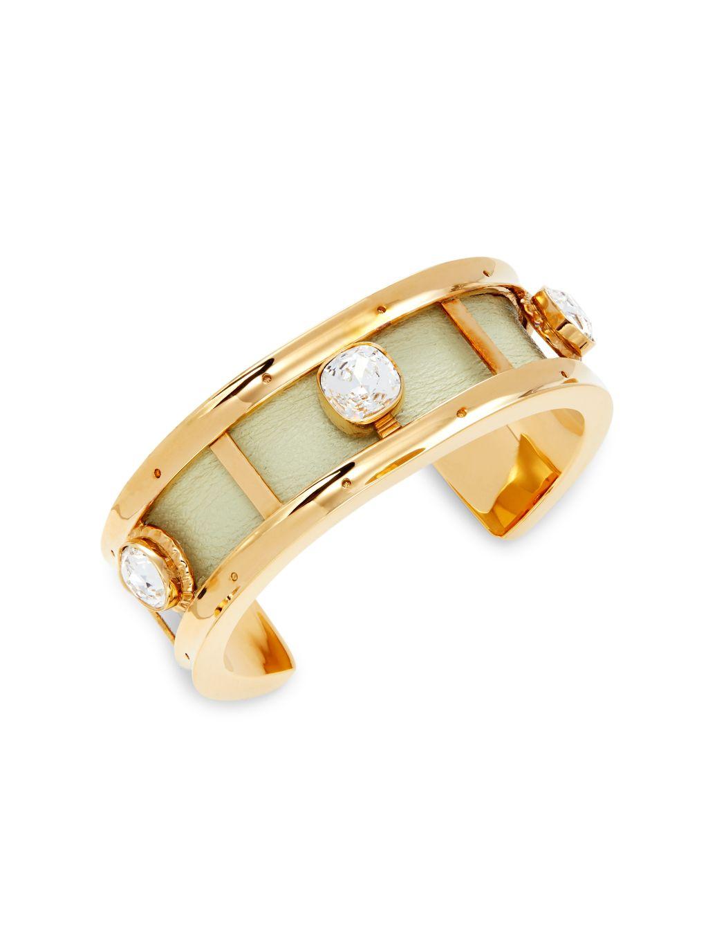 Burberry Goldtone, Leather & Crystal Cuff Bracelet