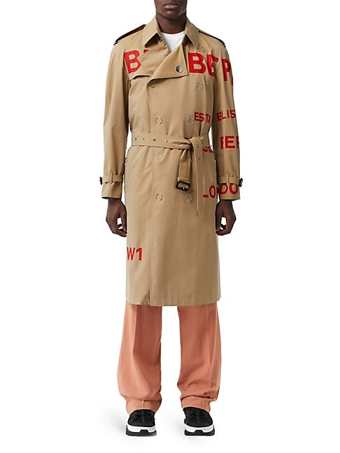 Burberry Logo Double-breasted Snap Trench Coat In Beige
