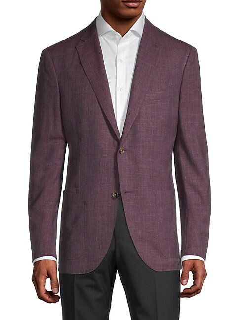 Luciano Barbera Burg Standard Fit Textured Sport Jacket