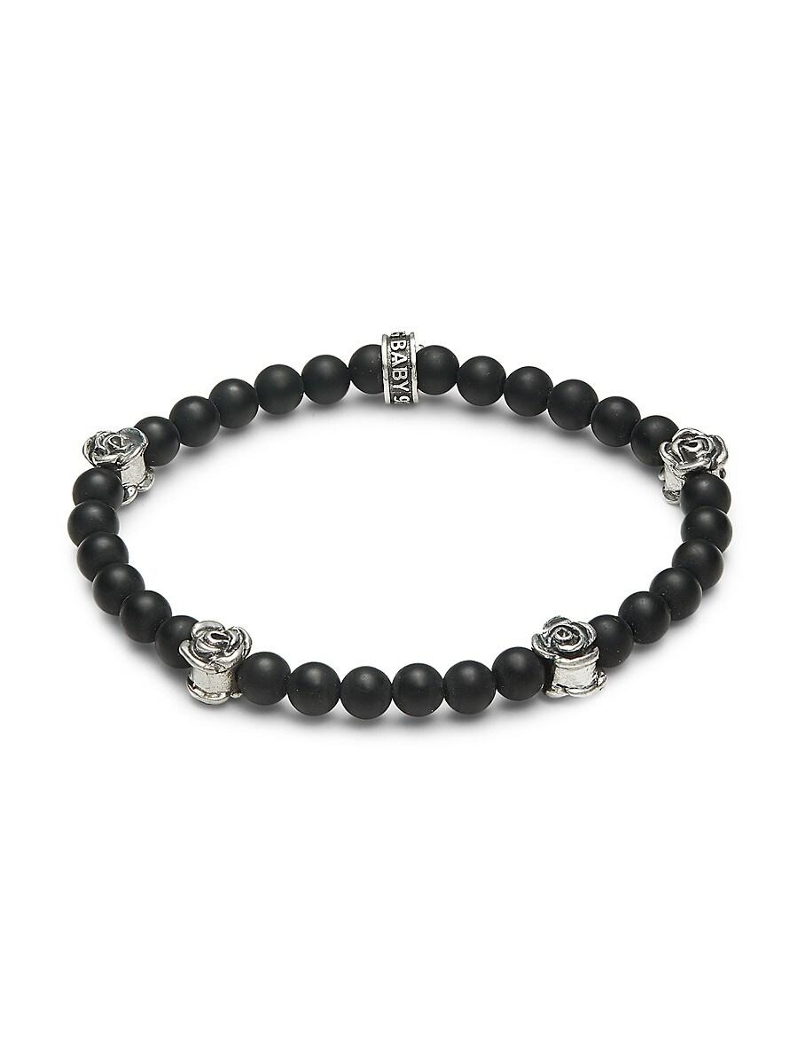 Men's Onyx Bead Roses Bracelet