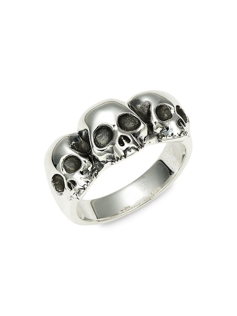 Men's Triple Hamlet Sterling Silver Skull Ring