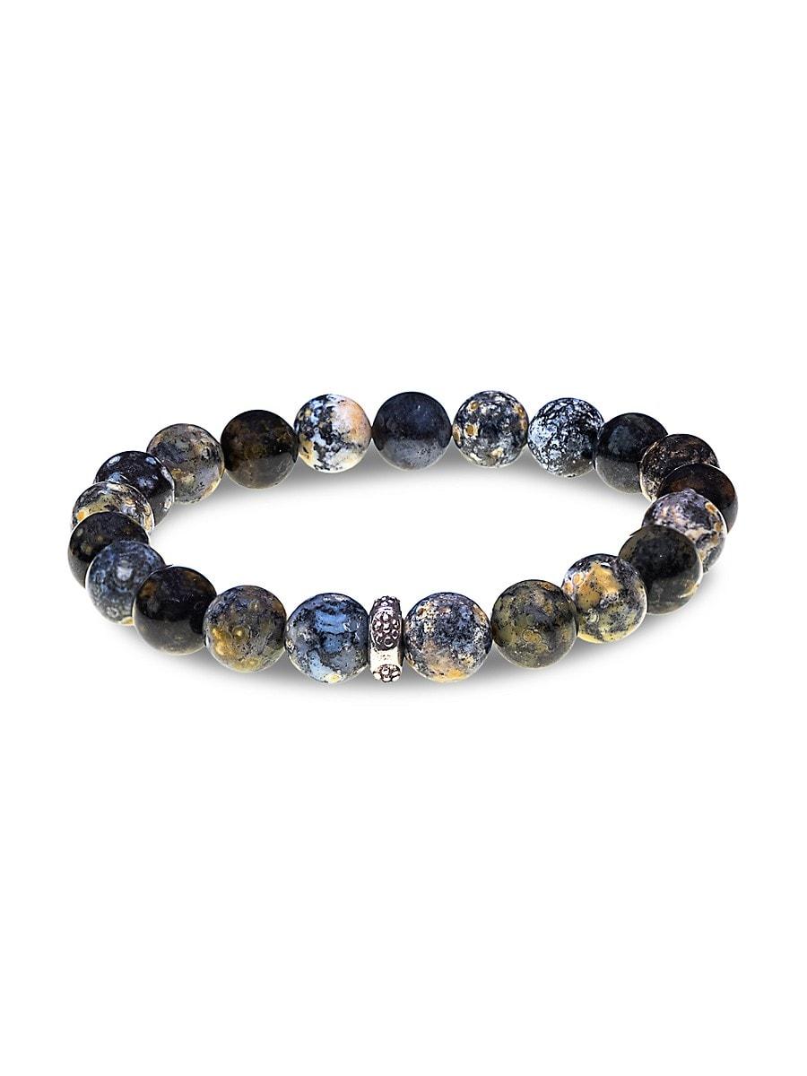 Men's Sterling Silver & Agate Bead Bracelet