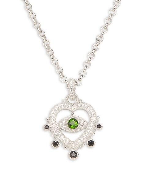 Judith Ripka Sterling Silver & Multi-Stone Heart Pendant Necklace