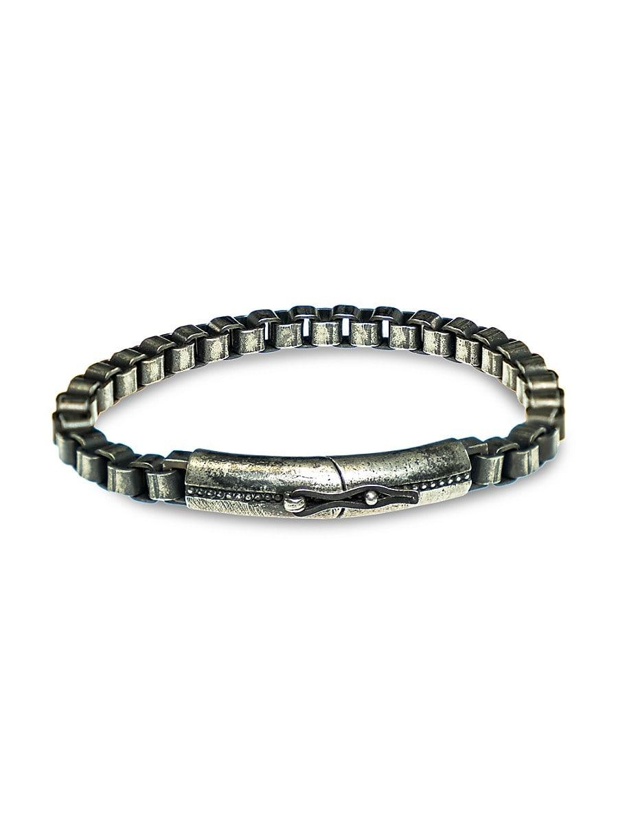 Men's Gunmetal-Tone Sterling Silver Box Chain Bracelet