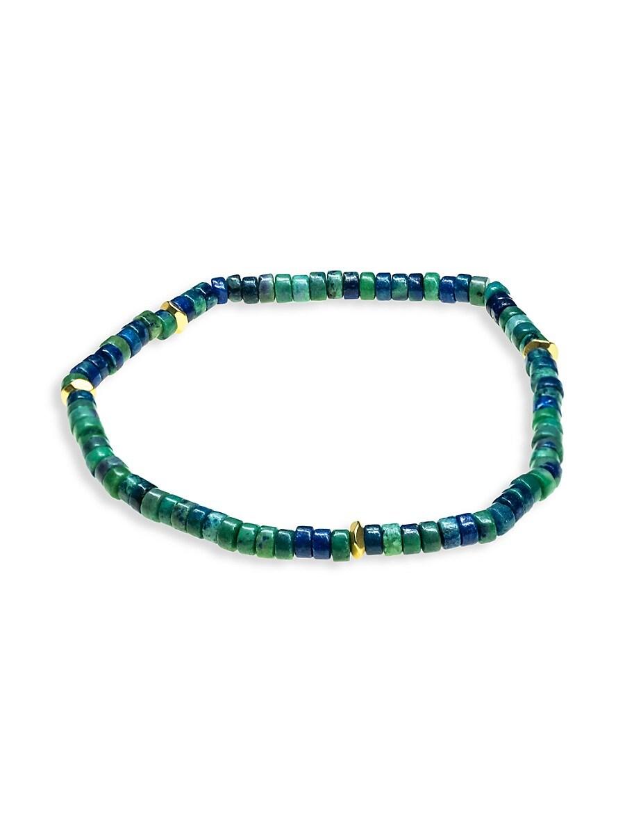Men's Goldtone & Multicolor Bead Stretch Bracelet