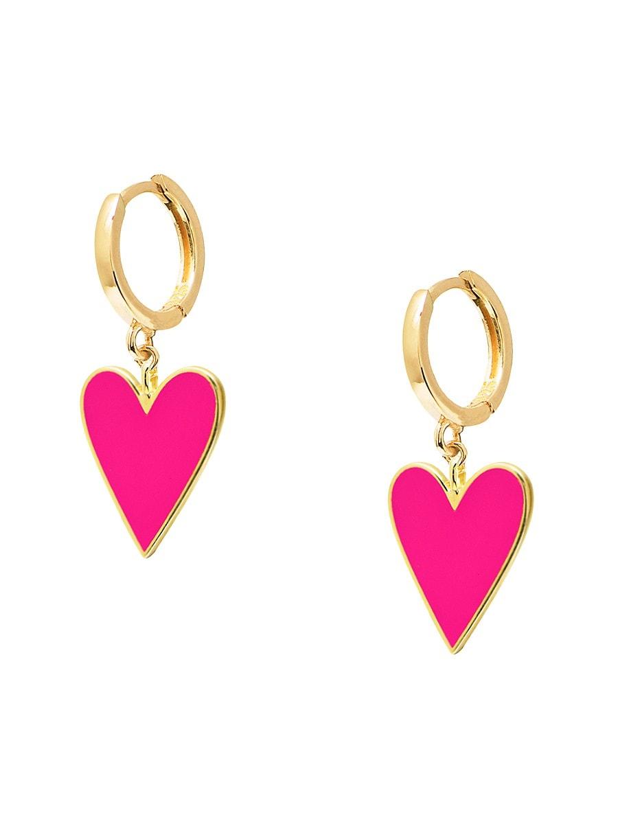 Women's Neon 14K Gold Vermeil & Enamel Candy Heart Huggie Hoops
