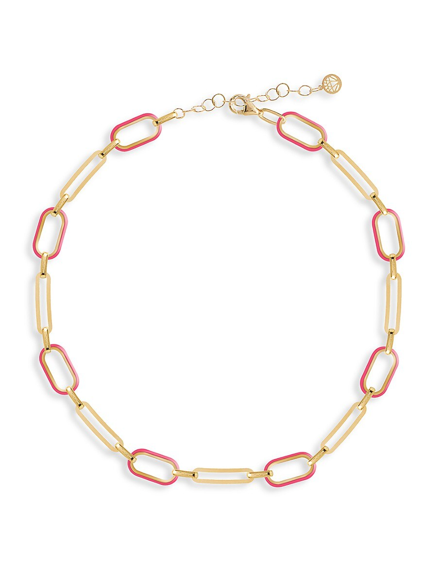 Women's Soft Serve Neon 14K Gold Vermeil & Enamel Chain Choker Necklace