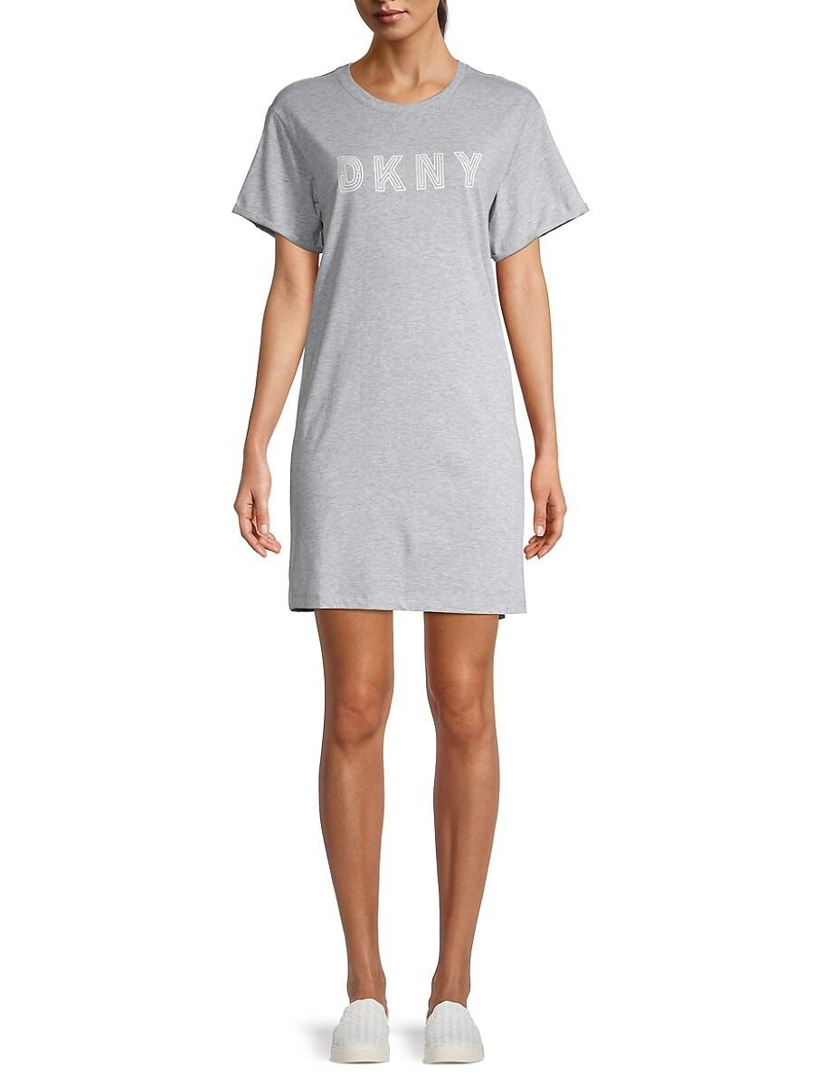 DKNY Sport Women's Track Logo T-Shirt Dress - Grey - Size M