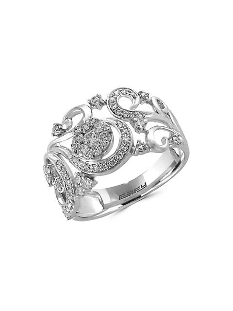 Effy Bouquet 14K White Gold & Diamond Ring