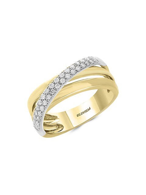 Effy Duo 14K Yellow Gold & Diamond Multi-Band Ring