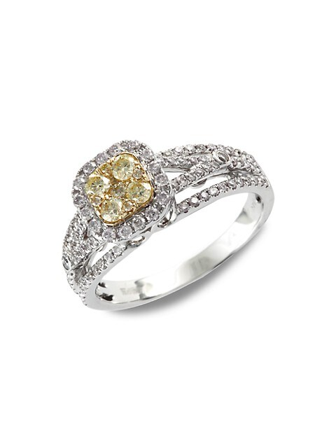 Effy 14K White Gold, Yellow & White Diamond Ring