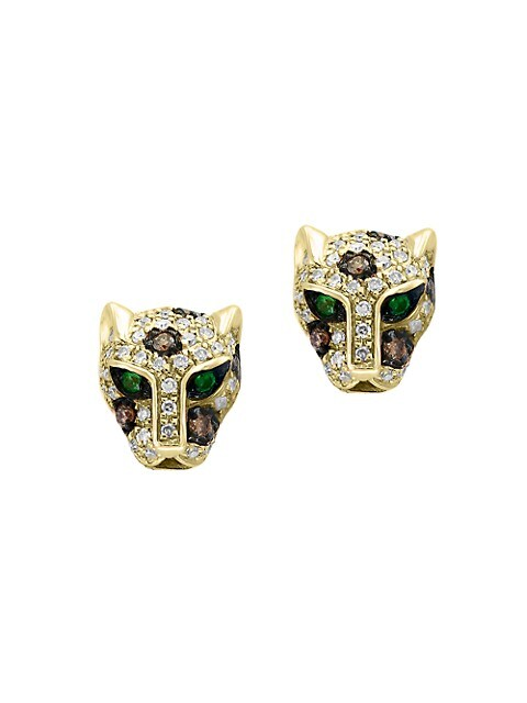 Effy 14K Yellow Gold & Diamond Panther Stud Earrings