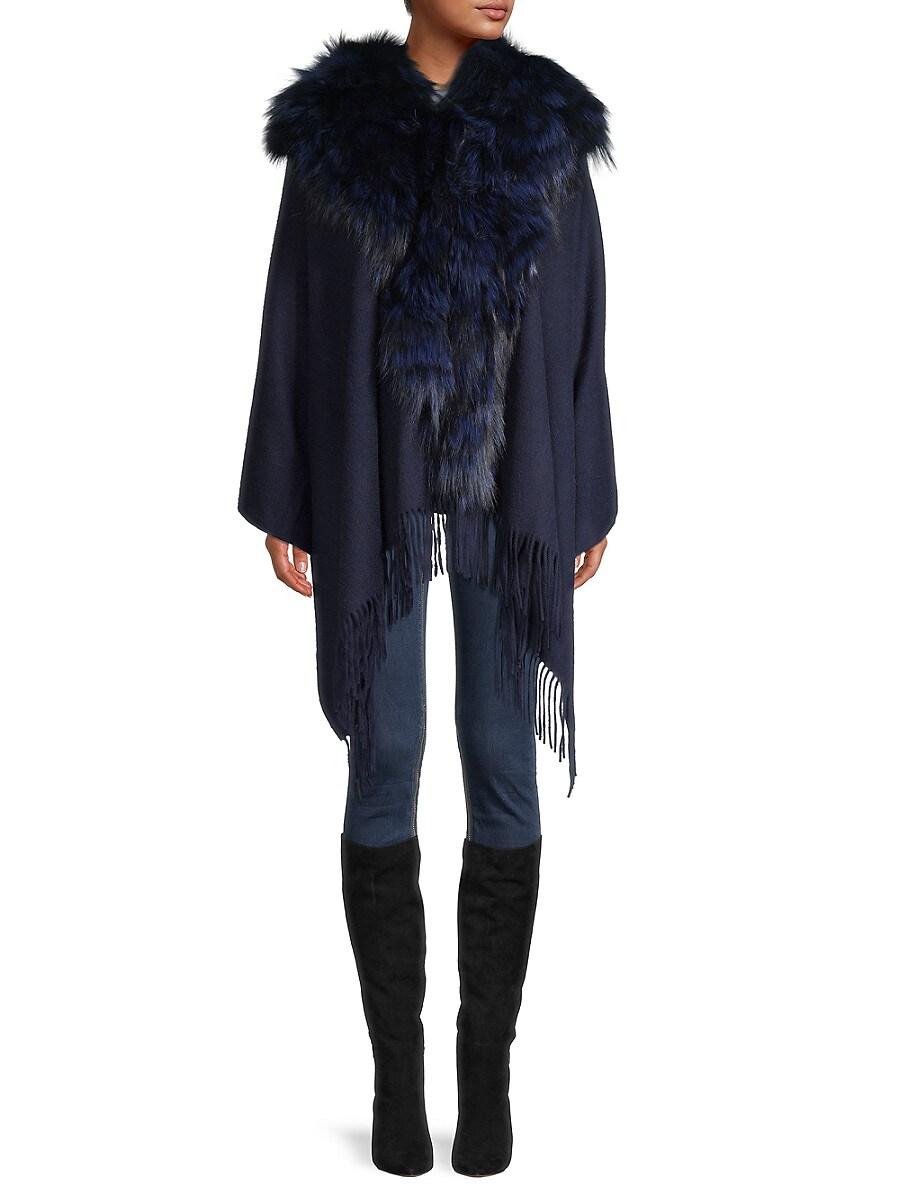 Women's Fox Fur-Trim Wool Cape