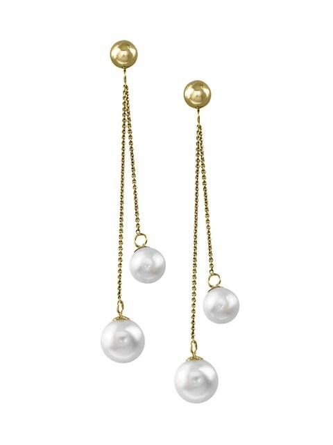 Effy 14K Yellow Gold, 8MM Freshwater Pearl Double-Chain Drop Earrings