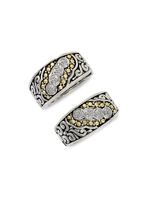 Effy Balissima Sterling Silver, Diamond and 18K Yellow Gold Etched Hoop Earrings