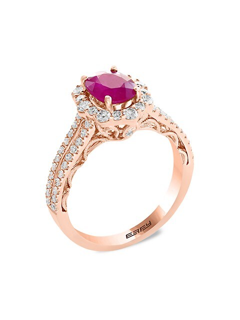 Effy 14K Rose Gold, Ruby & Diamond Ring