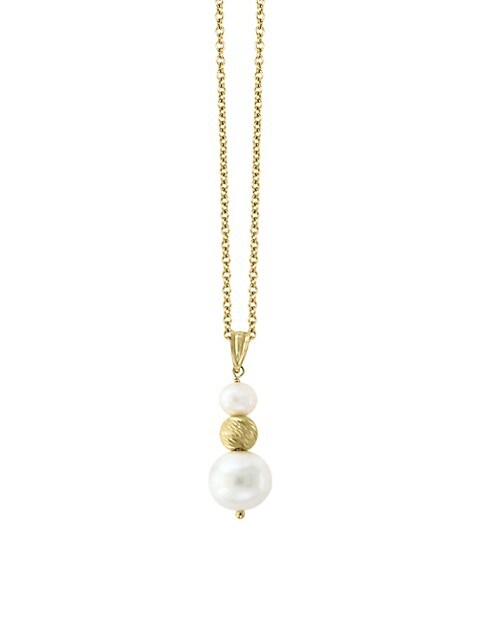 Effy 14K Yellow Gold, 5.5-6MM & 10-11MM White Freshwater Pearl Pendant Necklace