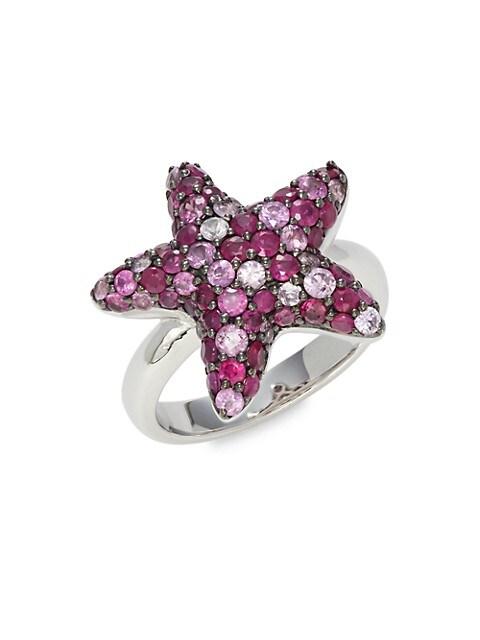 Effy Starfish 925 Sterling Silver, Sapphire & Rubies Ring