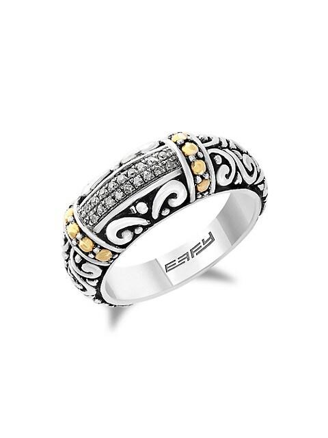 Effy Balissima Sterling Silver & 18K Yellow Gold Diamond Ring