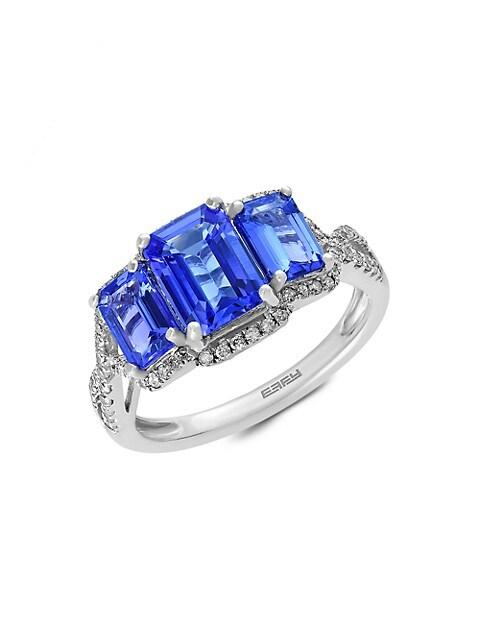 Effy 14K White Gold, Tanzanite & Diamond Ring