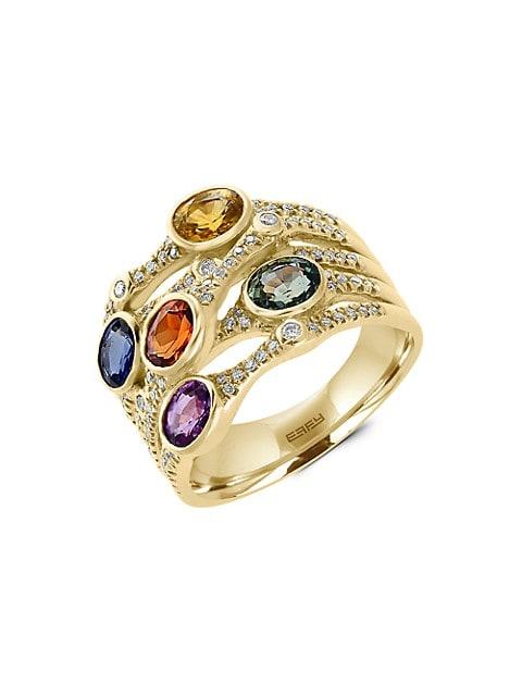 Effy Watercolor 14K Yellow Gold, Sapphire & Diamond Ring