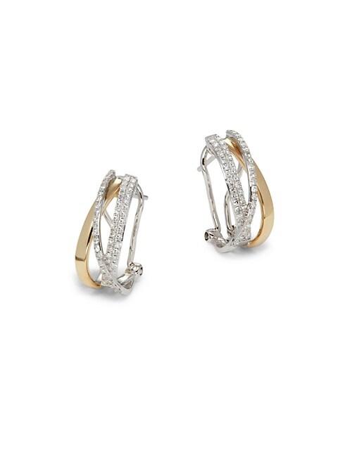 Effy 14K Two-Tone Gold & Diamond Huggie Earrings