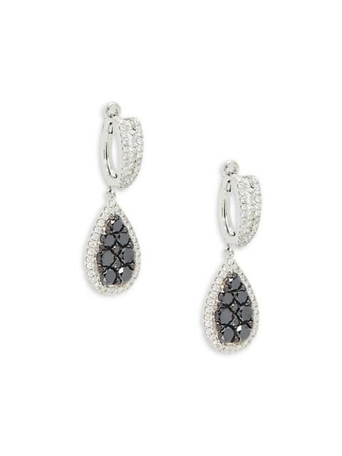 Effy Teardrop 14K White Gold & Diamond Drop Earrings