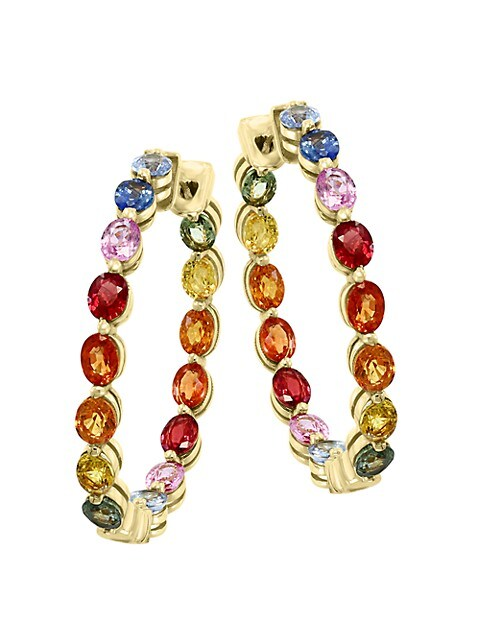 Effy Watercolor 14K Yellow Gold & Sapphire Hoop Earrings