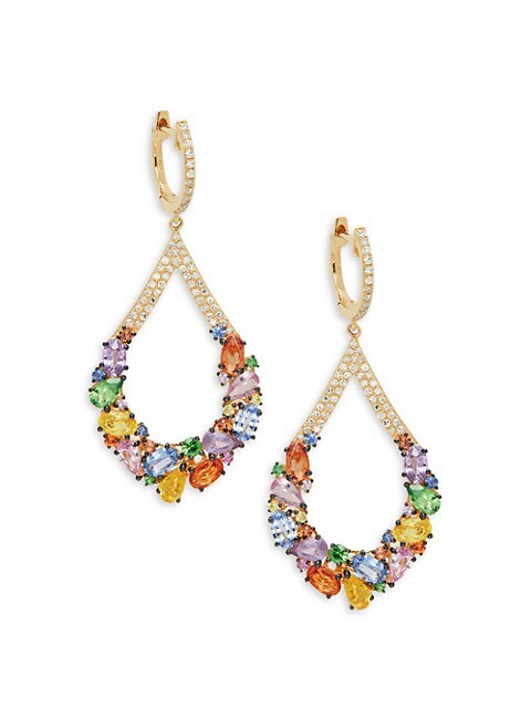 Effy 14K Yellow Gold, Sapphire & Diamond Drop Earrings