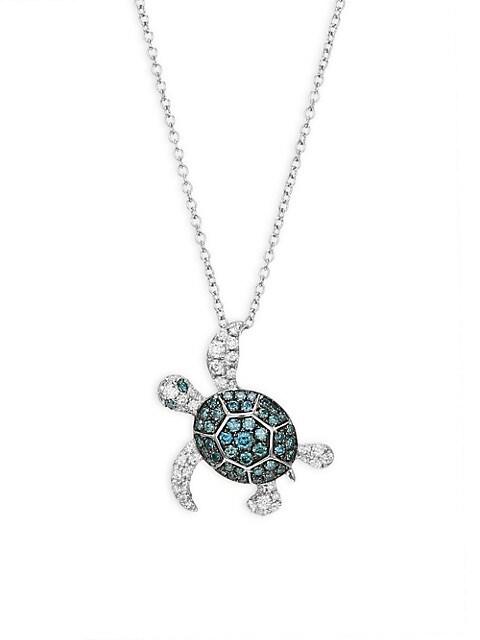 Effy 14K White Gold, White Diamond & Blue Diamond Turtle Pendant Necklace