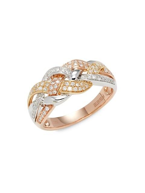 Effy 14K Rose Gold, 14K White Gold, 14K Yellow Gold & Diamond Ring