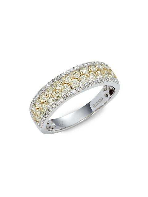 Effy 14K White & Yellow Gold & 1.00 TCW Diamond Band Ring