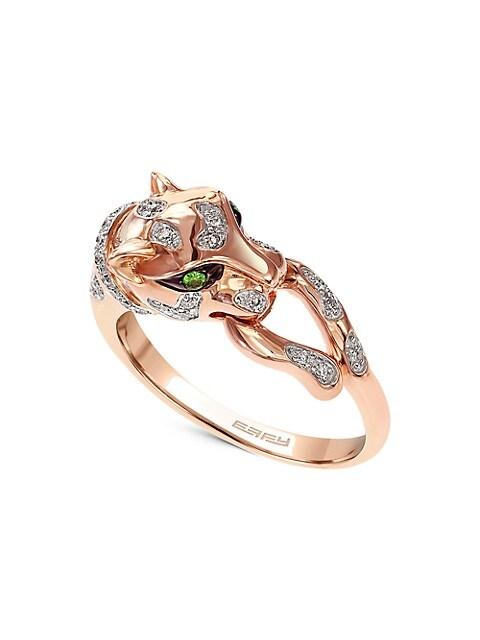 Effy 14K Rose Gold, Diamond & Tsavorite Panther Ring