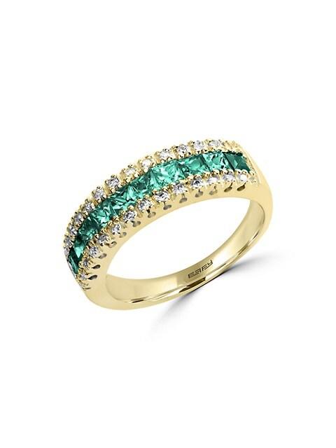 Effy Brasilica Natural Emerald, Diamond and 14K Yellow Gold Ring