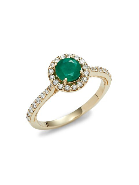 Effy 14K Yellow Gold, Emerald & Diamond Ring