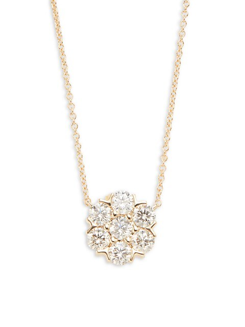 Saks Fifth Avenue 14K Yellow Gold & 1.00 TCW Diamond Flower Necklace
