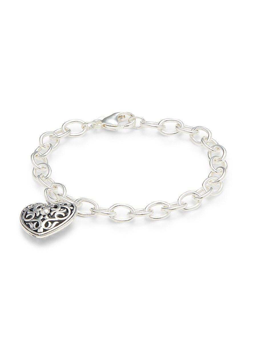 Women's Sterling Silver Heart-Cut Chain Bracelet