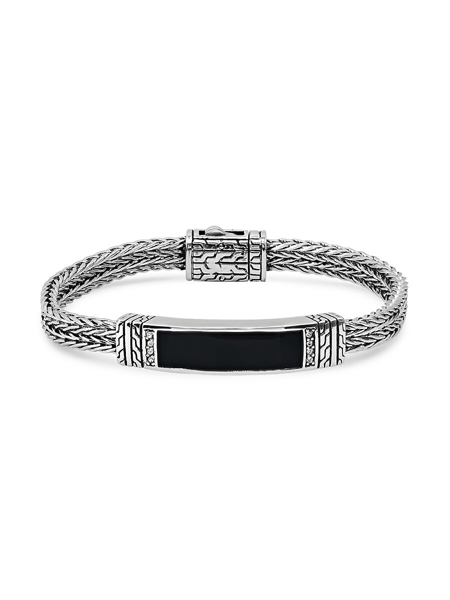 Men's Stainless Steel & Simulated Onyx Bangle