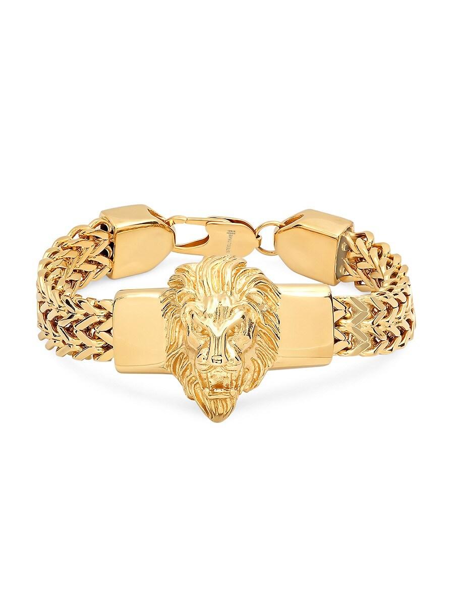 Men's 18K Gold Plated Stainless Steel Lion Head Box Chain Bracelet