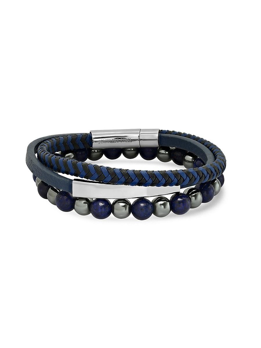 Men's 2-Piece Leather & Beaded Bracelet Set