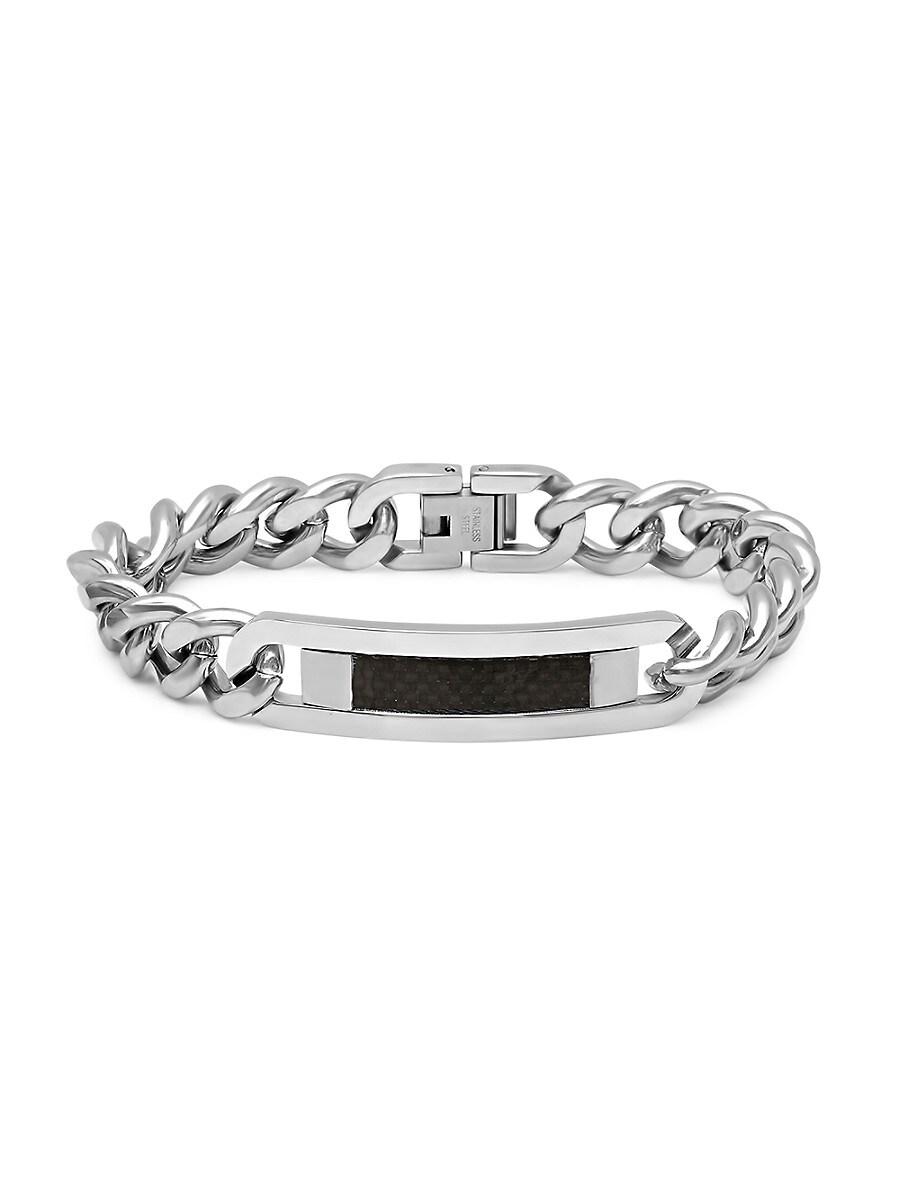 Men's Stainless Steel Cuban-Link ID Bracelet